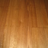 Walnut stain with water-based polyurethane (traffik) on old hardwood.