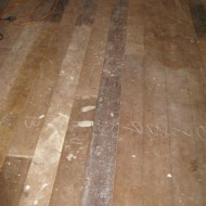 Old and relaid Baltic Pine before sanding