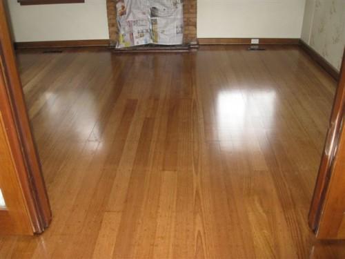 Walnut stain with water-based polyurethane (traffik) on old hardwood.